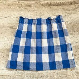J.Crew Gingham Linen-Cotton Sidewalk Skirt